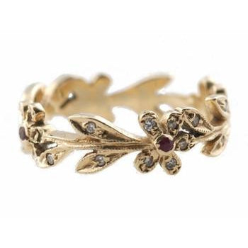 Flower with Diamond and Ruby Center Ring