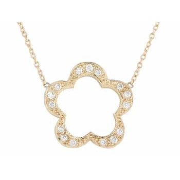 Open Pave Diamond Flower Necklace