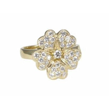 Flower with Pave Diamond Hearts Ring