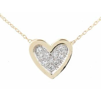 Pave Diamond Heart With Ridge Necklace