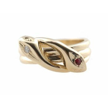 Snake with Diamond and Ruby Eyes Ring