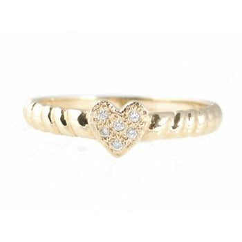 Pave Diamond Heart Band Ring