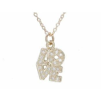 Gold and Pave Diamond LOVE Necklace