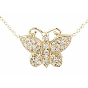 Closed Pave Diamond Butterfly Necklace
