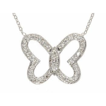 Open Pave Diamond Butterfly Necklace