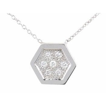 Closed Pave Diamond Hexagon Necklace