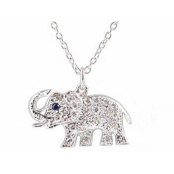 Pave Diamond Elephant Necklace