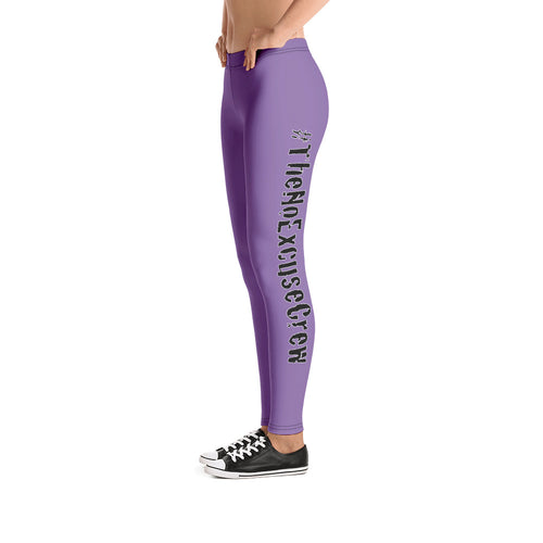 #TheNoExcuseCrew - Women's Logo Leggings - Purple w/Blk Writing