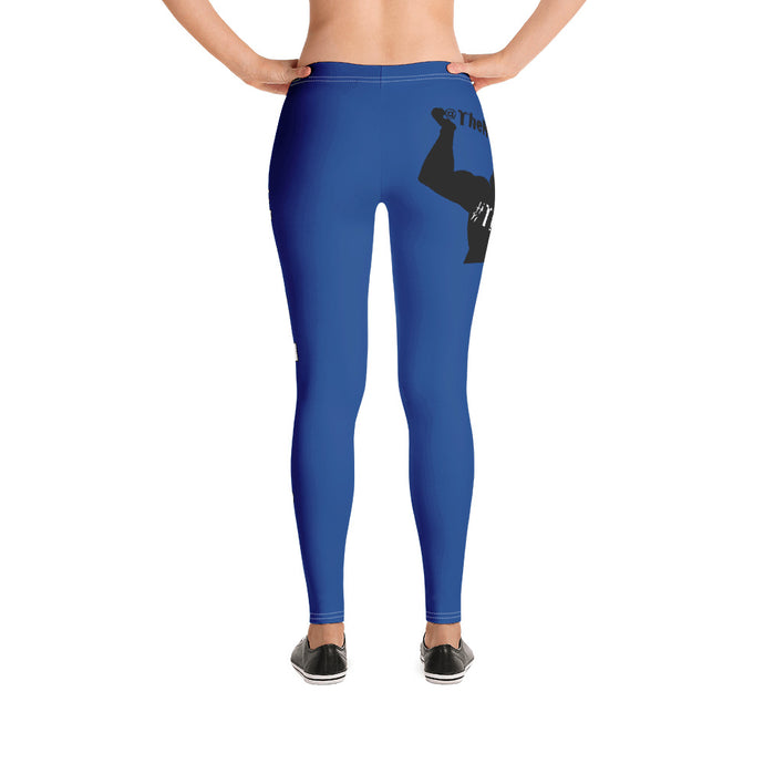 #TheNoExcuseCrew - Women's Leggings - Blue w/Logo & Wht Writing