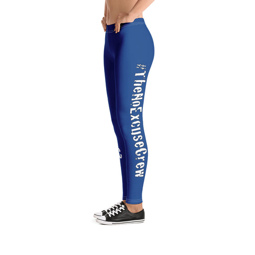 #TheNoExcuseCrew - Women's Leggings - Blue w/Wht writing