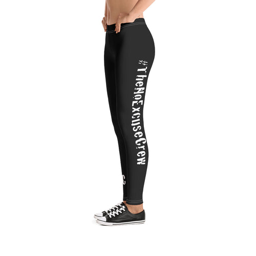#TheNoExcuse - Women's Leggings v2 - Black w/Wht writing
