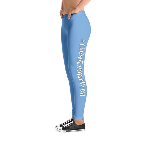 #TheNoExcuseCrew Women's Leggings - UNC Blue w/Wht Writing