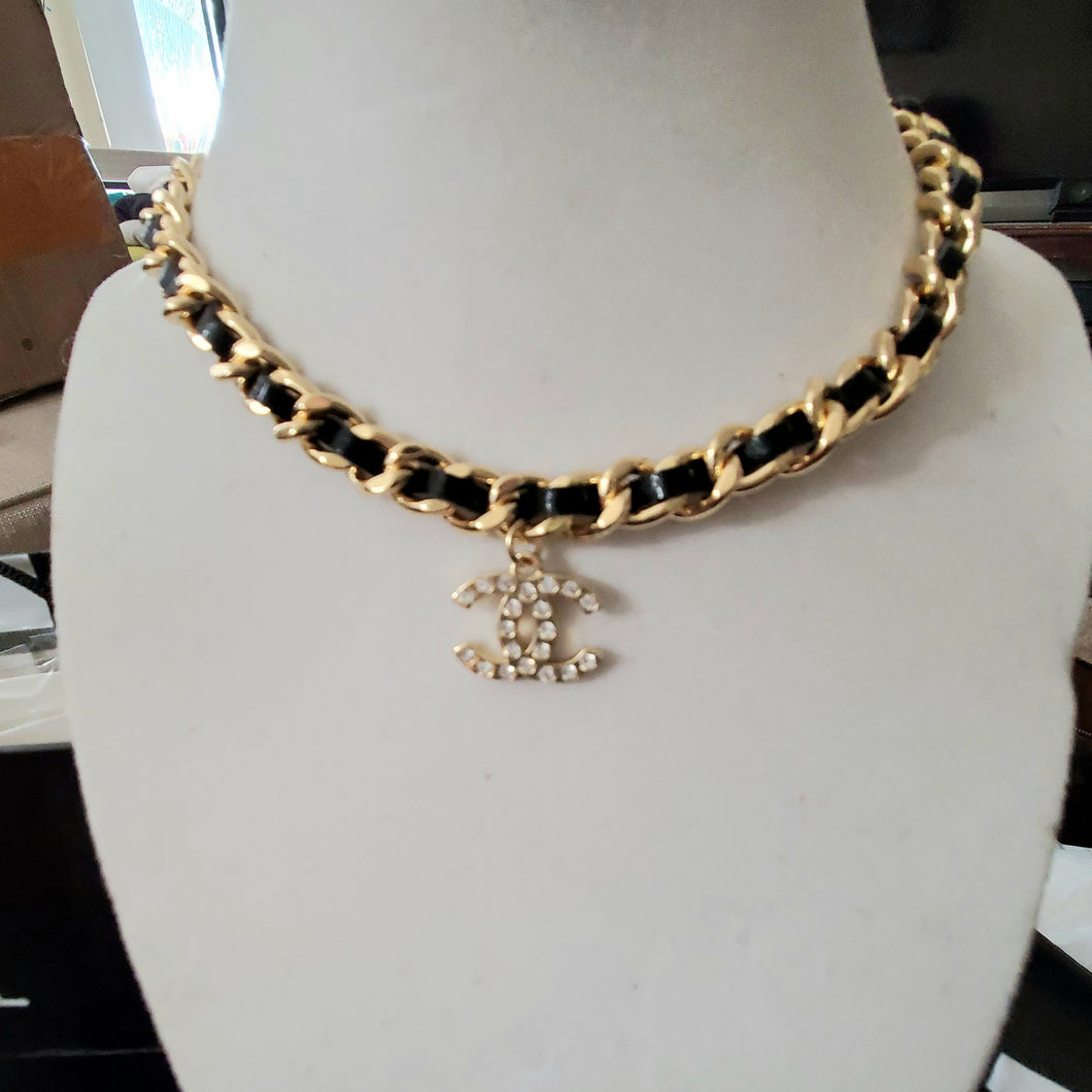 High Quality Chanel leather strap choker necklace