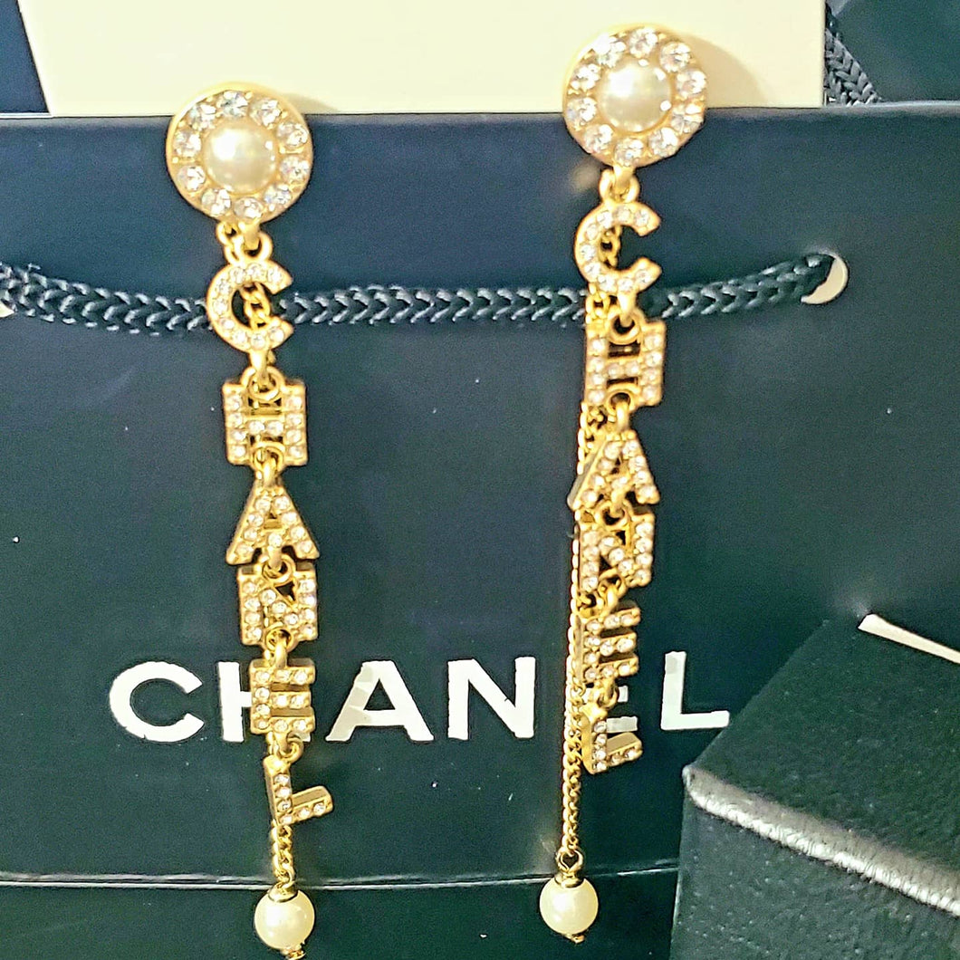 Top Quality Chanel Crystal & Faux Pearl Earrings