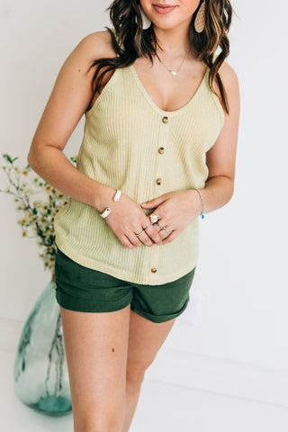 Light Mustard Ribbed Tank Top