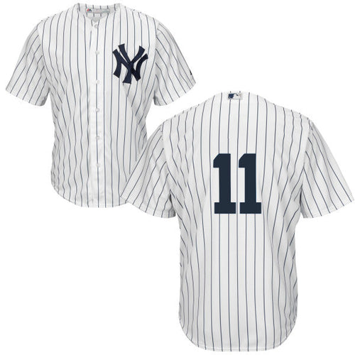 Men's New York Yankees Brett Gardner Majestic Home White Pinstripes Cool Base Player Jersey
