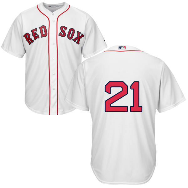 Men's Boston Red Sox Legends Series Roger Clemens Majestic Home White Cool Base Jersey