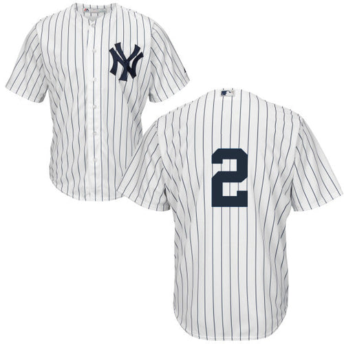 Men's New York Yankees Derek Jeter Majestic Home White Pinstripes Cool Base Player Jersey