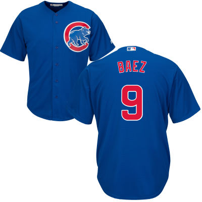 Men's Chicago Cubs Javy Baez Majestic Blue Alternate Cool Base Player Jersey