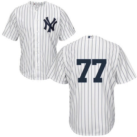 Men's New York Yankees Clint Frazier Majestic Home White Pinstripes Cool Base Player Jersey