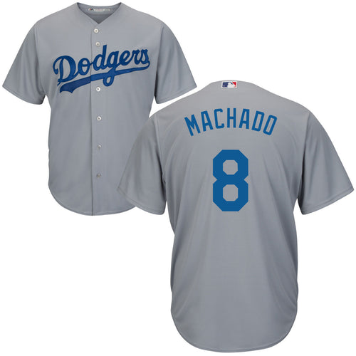Men's Los Angeles Dodgers Manny Machado Road Gray Majestic Cool Base Jersey