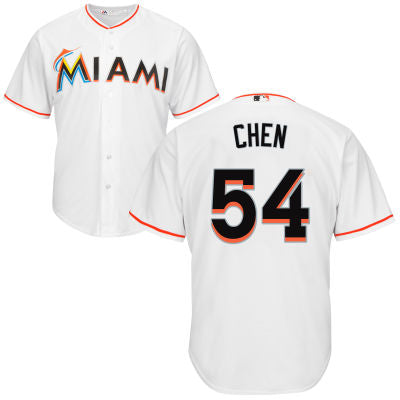 Men's Miami Marlins Wei-Yin Chen Home Majestic Cool Base Jersey
