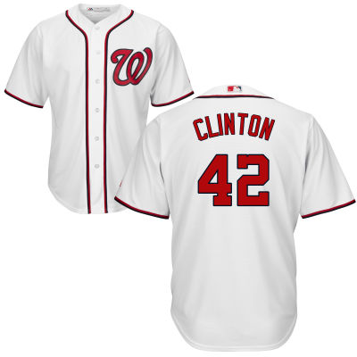Men's Washington Nationals Presidential Series Bill Clinton Home Majestic Cool Base Jersey