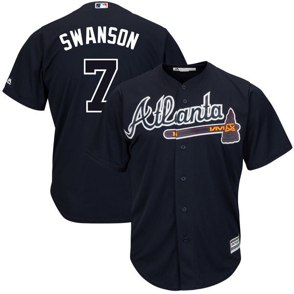 Men's Atlanta Braves Dansby Swanson Alternate Majestic Cool Base Jersey