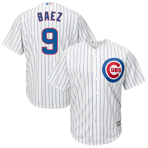 Men's Chicago Cubs Javier Baez Majestic Home White Cool Base Player Jersey