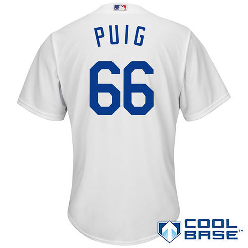 Men's Los Angeles Dodgers Yasiel Puig Home Majestic Cool Base Jersey