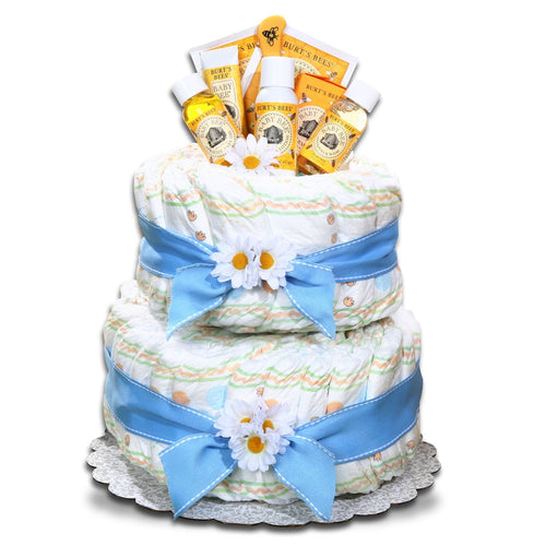 Burt's Bees Diaper Cake - Blue - Vogue Gift Baskets
