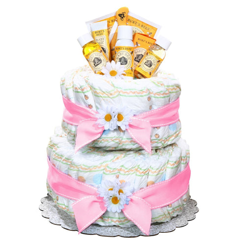 Burt's Bees Diaper Cake - Pink - Vogue Gift Baskets