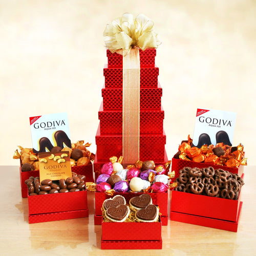 Godiva Tower of Love - Vogue Gift Baskets
