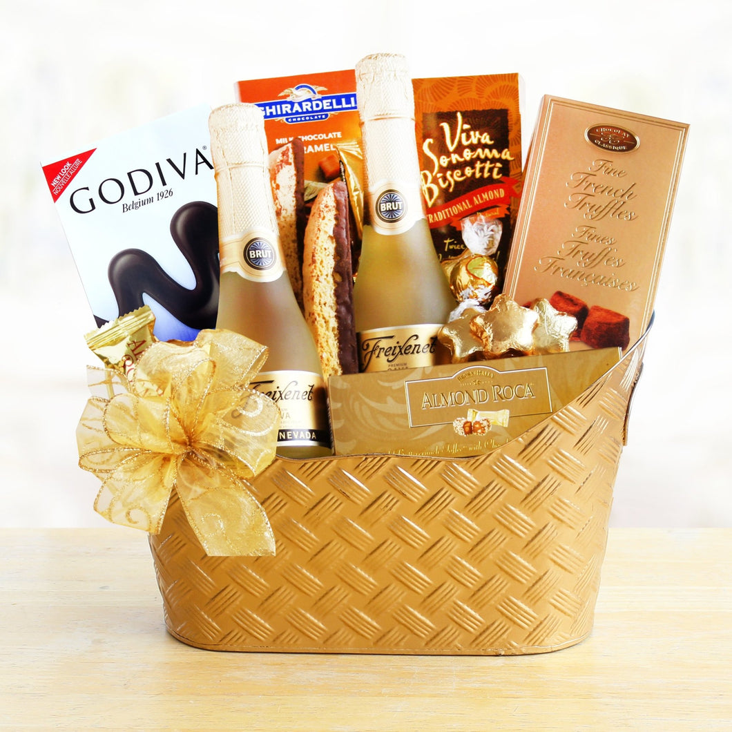 Golden Sparkling Wine Gourmet - Vogue Gift Baskets