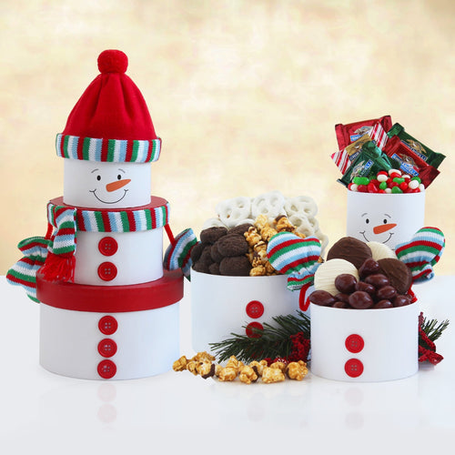 Snowman's Yuletide Tower - Vogue Gift Baskets