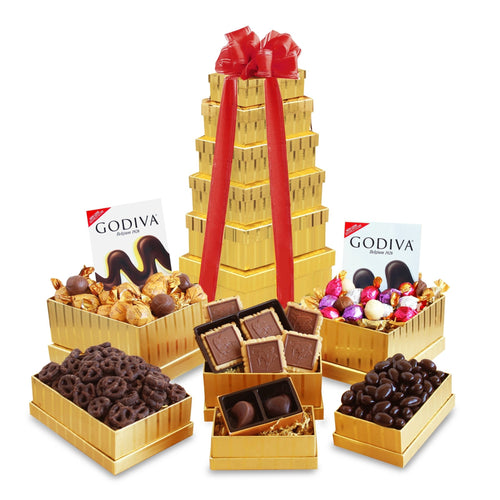 Valentine's Day Godiva Golden Tower - Vogue Gift Baskets