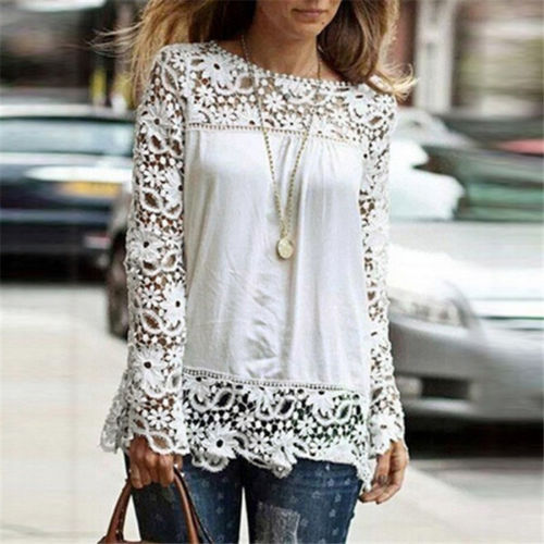 Women Sheer Sleeve Embroidery Top Blouse