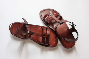 Vintage  Model Genuine Leather Sandals for women Flat Sole .