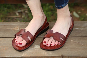 Sling back  flipflops Leather  Jesus Sandals for women .