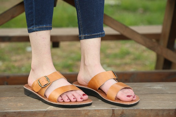 Natural color  slip-on  JESUS Leather Sandals for women .