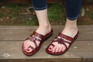 floral Straps Genuine Leather Sandals for women