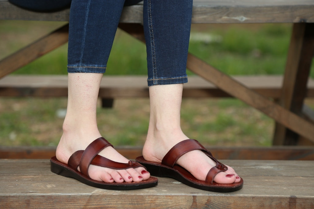Comfort Wide Side Strap genuine leather sandals