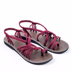 Ring toe Wine Red cotton straps , Leather low heels Sandals for women