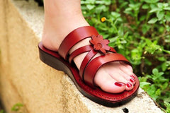 2018 Sexy Nice slip ons with floral beach summer  Genuine Leather Sandals for women Special offer