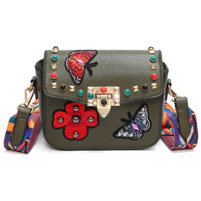 f31d0308cd7a Rivet Butterfly Flower Embroidery Women Messenger Bags Crossbody Bag Women  Famous Brands Designer Woman Leather Handbags