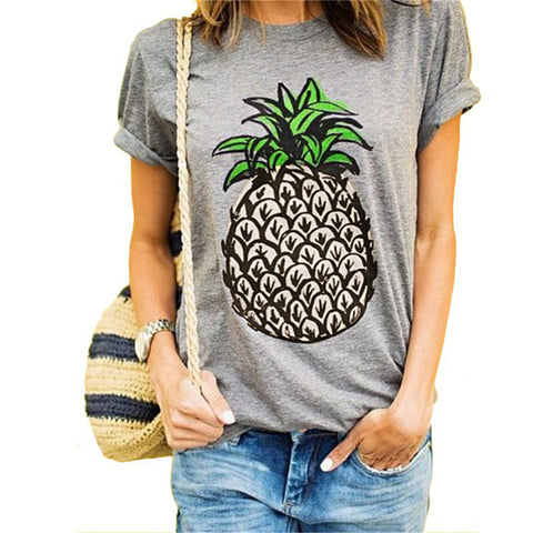 Women T Shirt Round Collar Short Sleeve Pineapple Print Casual Summer Design