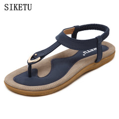 SIKETU 2017 Summer Shoes Leather Woman sandals Bohemia comfortable non-slip soft bottom flat women flip flops sandals plus size