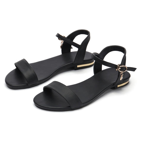 S.Romance Women Sandals Genuine Leather Soft Rubber Sole Basic Buckle Strap Size 34-43 Women's Summer Shoes SS168