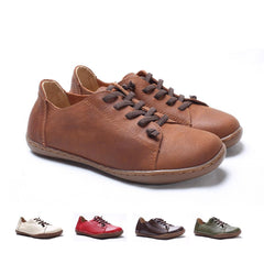 authentic leather flat shoes  plain toe for women lace up