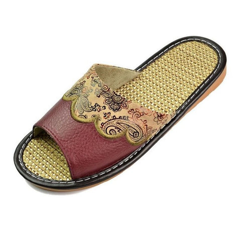 Xiuteng 201 Summer/Autumn Genuine Cowhide Leather Women House Slippers Flat Flax Shoes Indoor Feminina Sandals Slippe 3 Color